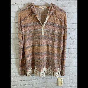 Rewind Lace Trim Multicolored Hoodie Shirt Sz L